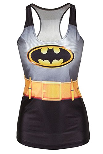 Nuovo donna Batman cintura gilet serbatoio Tops estate Top Fancy Dress Club Wear vestiti taglia M 8 - 10