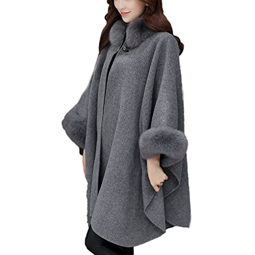 Desshok Women Cloak Coat Faux Fur Trim Shawl Wrap Poncho Capes Coat Tops  Jacket