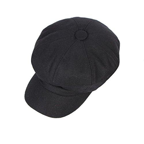 ACVIP Adulte Unisexe Chapeau Casquette Octogonal Couvercle Berét Réglable Printemps Automne Hiver,Taille Unique Noir