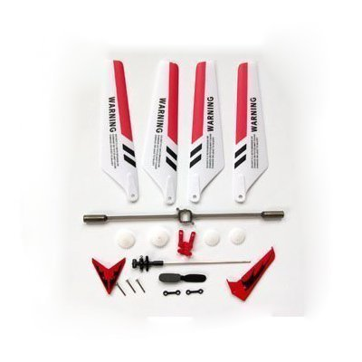 Full Set Replacement Parts for Syma S107 RC Helicopter, Main Blades, Main Shaft,Tail Decorations, Tail Props, Balance Bar, Gear Set,Connect Buckle-Red Set- - Replacement Parts for RED Syma S107 RC
