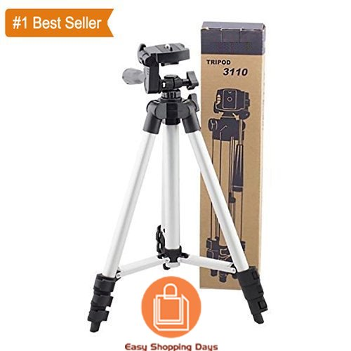 Professional Tripod - 3110 Portable & Foldable Camera - Mobile Tripod With Mobile Clip Holder Bracket , Fully Flexible Mount Cum Tripod , Standwith Three-dimensional Head & Quick Release Plate Only 150 gm + Black Carry Bag for Canon Nikon Sony Cameras Camcorders iPhone & Androids By *Easy Shopping Days*  available at amazon for Rs.849