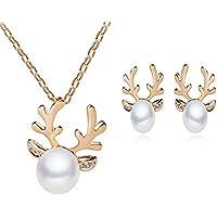 Hosaire Damen Schmuck Weihnachten Elch Geweih mit Weißer Perle Anhänger Mode Frauen Mädchen Schmuck Zubehör (Golden)
