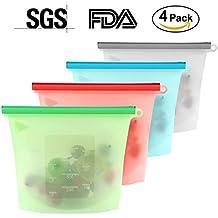 4confezioni riutilizzabile in silicone per alimenti conservazione borse, sacchetto di cottura in silicone versatile per frigorifero, forno a microonde, frutta, verdura, carne
