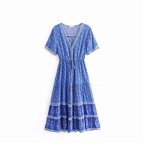 BMKWSG-LIANYIQUN Sommer Damen Kleid Bohème gedruckt Einreiher Langen Rock Urlaub Wind Taille Kurzarm Kleid Mutter blau S zu senden