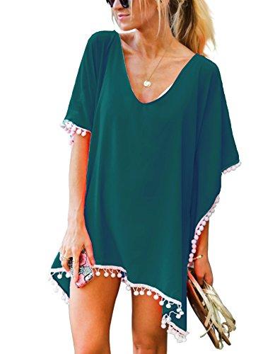 PINKMILLY Damen Strandponcho Sommer Überwurf Kaftan Strandkleid Bikini Cover Up Freie Größe Schwärzgrün