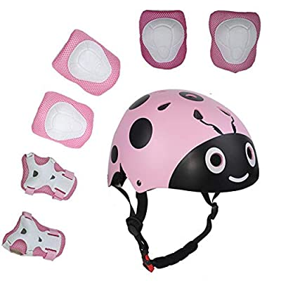 Lucky-M Kids 7 Pieces Outdoor Sports Protective Gear Set Boys Girls Cycling Helmet Safety Pads Set [Knee&Elbow Pads and Wrist Guards] for Roller Scooter Skateboard Bicycle(3-8Years Old) from Lucky-M