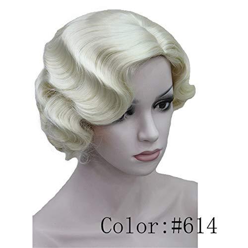 YHSY Frauen Finger wellig Retro-Stil Kurze synthetische Perücke 8 Zoll Blond -