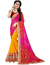 Sarika Women's Georgette Rajasthani Bandhani Zari Lace Work Saree With Blouse (SS04_14001_Pink And Yellow)