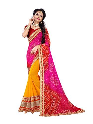 Sarika Women's Georgette Rajasthani Bandhani Zari Lace Work Saree With Blouse (SS04_14001_Pink...