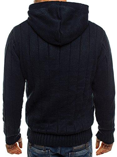 OZONEE Herren Pullover Hoodie Sweatshirt JACK DAVIS 307 Dunkelblau