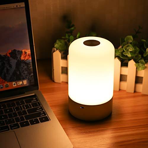 LED Nachtlicht Kinder,SOLMORE Touch Control 256 RGB-Farbwechsel & Dimmbares Multifunktionale Smart Nachttischlampe Schreibtischlampe,USB Wiederaufladbare - Drei-licht-post-lampe