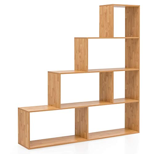 FineBuy Stufenregal Modern FB14651 Buche 155 x 162,5 x 29 cm Holz Treppenregal | Bücherregal Regal-Raumteiler | Standregal mit 6 Fächern Büroregal | Wohnzimmerregal Braun Groß | Stufen Dekoregal -