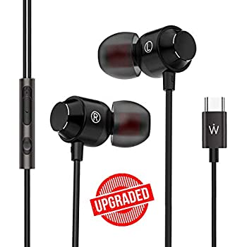 Wissenschaft JP53 (Upgraded Version) USB C-Type in-Ear Headphones with Mic HD Stereo. Works with Phones which Donot Have 3.5mm Jack. (Type-C USB Plug, Black)