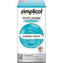 Simplicol Textilfarbe intensiv I Textilfärbung für die Waschmaschine I Färbemittel und Fixierpulver | Karibik-Türkis 1810
