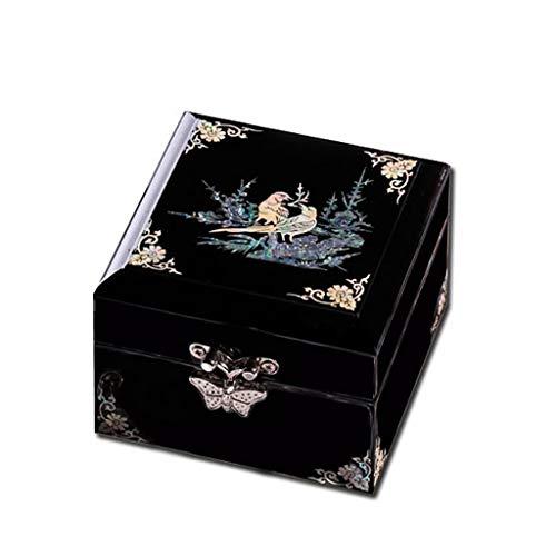 Rong jia Hölzerne Schmuckkästchen klein mit Latch Black Vintage Shell Prinzessin Schmuck Aufbewahrungsbox zu senden Freundinnen Mutter Hochzeit Geburtstagsgeschenk -