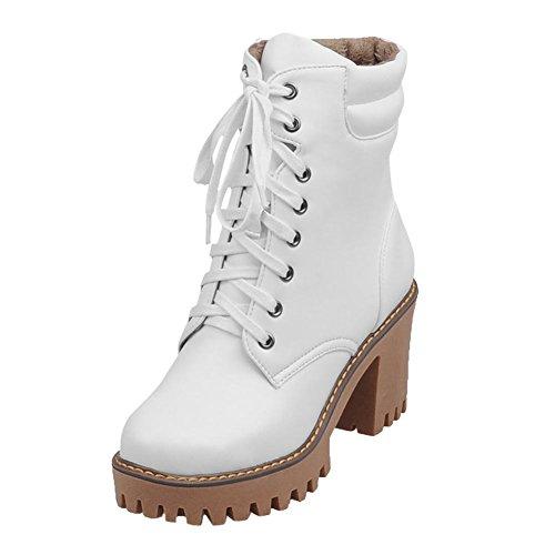 Mee Shoes Damen chunky heels Plateau runde mit Schnürsenkel Stiefel Weiß