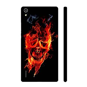 Huawei P7 Skull on Fire designer mobile hard shell case by Enthopia