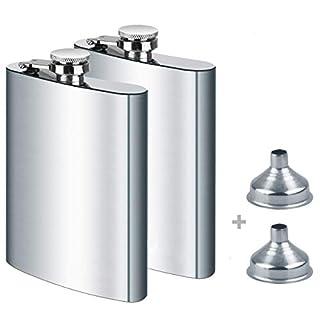 Aibesser Stainless Steel Hip Flask,8 oz*2 Set,Silver