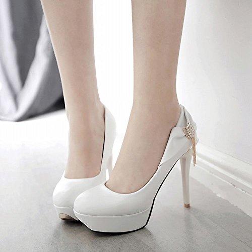 MissSaSa Donna Sottile col Tacco Alto Spillo Elegante Bianco