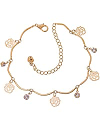 Wearyourfashion 18k Gold Plated Cubic Zircon Crystal RoseCharm Bracelet For Women And Girls