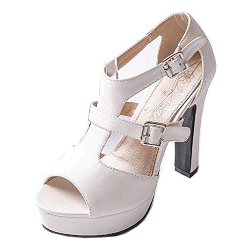 COOLCEPT Hot Sale Femmes Classique Peep Toe Two Boucle Cheville Robe Talon hauts Sandales Blanc