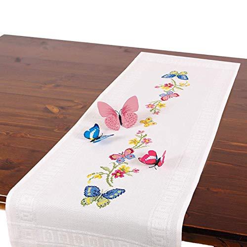 Stickpackung Schmetterlinge, komplettes vorgezeichnetes Kreuzstich Tischdecken Set, Sommer Tischläufer Stickset mit Stickvorlage zum Selbersticken