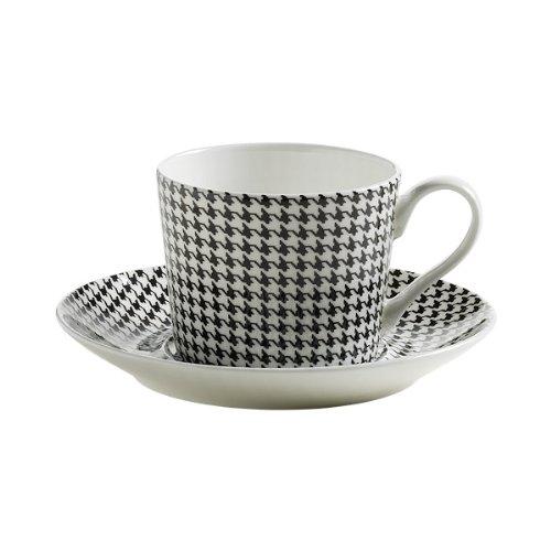 Maxwell & Williams S84004 Art Deco Tasse mit Untertasse, Kaffeetasse, Hahnentritt, in Geschenkbox, Porzellan - Art Deco Porzellan