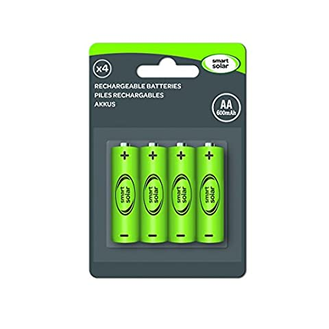 Lot de 4 Piles Rechargeables Ni-MH AA 600mAh 1.2V Pour Produits Solaires