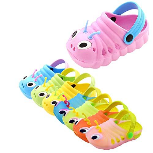 Dorical Süß Karikatur Caterpillar Hausschuhe Sommer Unisex Kleinkind Baby Jungs Mädchen Mädchen Indoor-Schuhe Sandalen Strand Sandalen Flip Schuhe Strandschuhe Badezimmer Schuhe(Rosa,22 EU) -