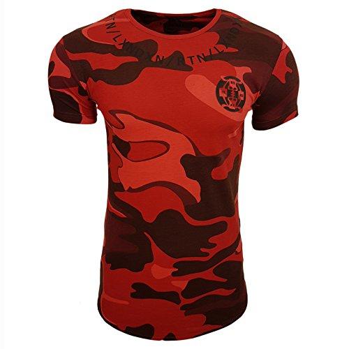 HERREN T-Shirts Camouflage RN15085 Größe S M L M XL XXL RUNDHALS KURZARM Regular Khaki