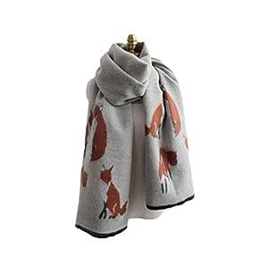UK_Stone Damen Fuchs Pattern Khaki Schal Halstuch Gross Poncho mit Quaste