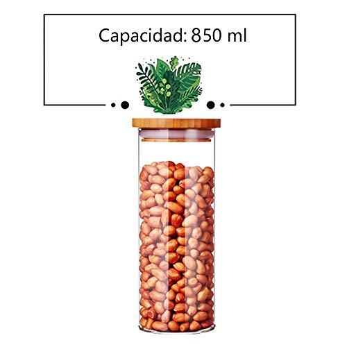 Serbatoio impermeabile in vetro trasparente con coperchio in legno e anello in silicone, contenitore da cucina per la conservazione degli alimenti e protezione dall'umidità,h