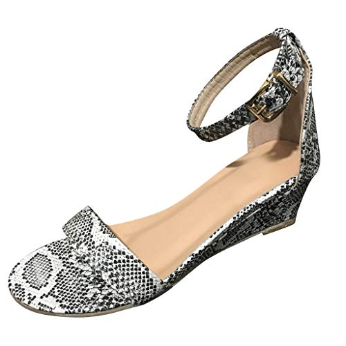 Leopard-print-plattform Sandal (Damen Peep Toe Schuhe, Schnalle Knöchelriemen Low-Heeled Wedges Plus Size Leopard/Snake Print Sommer Sandalen für Damen Damen)