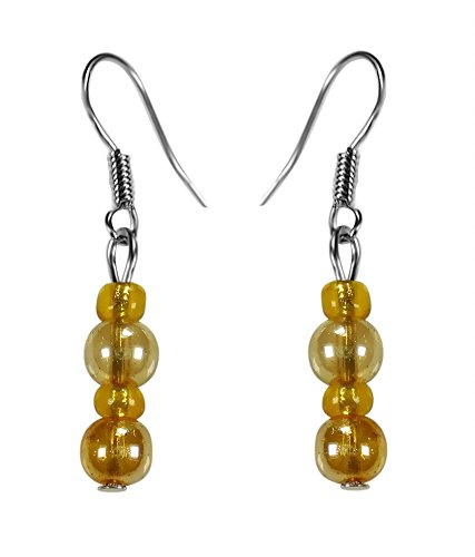 CRYSTAL & BEADS Gold Colour Round Crystal & Citrine Yellow Colour Crystal Earring