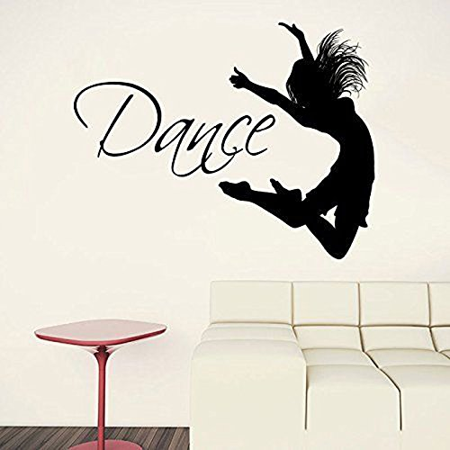 WWYJN Dance Quote Dancer Silhouette Gymnastics Wall Vinyl Decal Sticker Girls Bedroom Home Decor Removable Interior Decoration  53x42cm