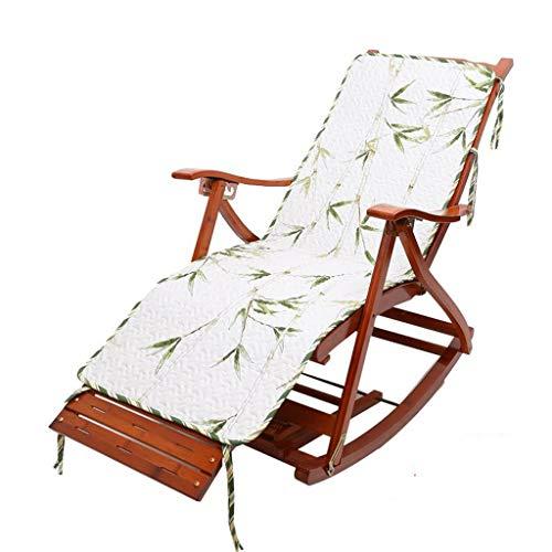 AFEO-Liegen Klapp Schaukelstuhl Outdoor-Liegestuhl Lounge-Stuhl Bambusstuhl Rückenlehne Sessel Sonnenliege Patio Garten Schwangere Frau Stuhl (Color : A+Cushion) - Outdoor Klapp-liegen
