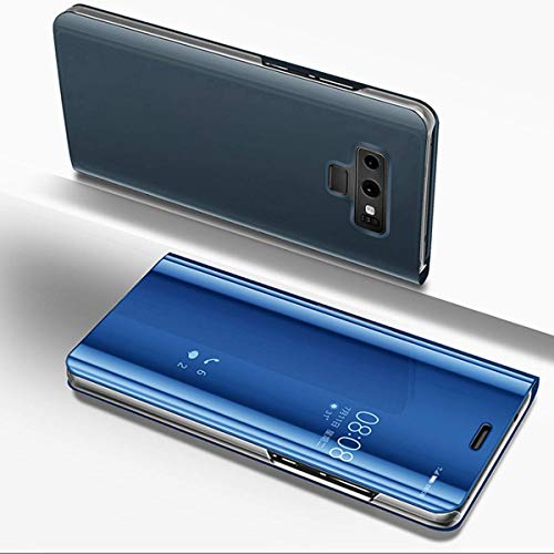 Herbests Hülle Kompatibel mit Samsung Galaxy Note 9 Spiegelhülle Ledertasche Überzug Mirror Clear View Flip Cover Hülle Bookstyle Dünn Handyhülle Tasche Lederhülle Klapphülle,Blau