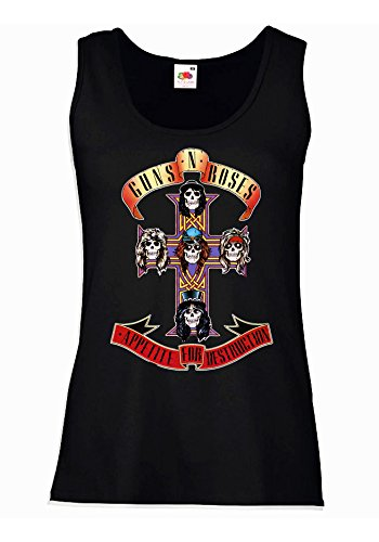 "Canotta Donna ""Guns n' Roses"" - Appetite for destruction 100% cotone LaMAGLIERIA, M, Nero"