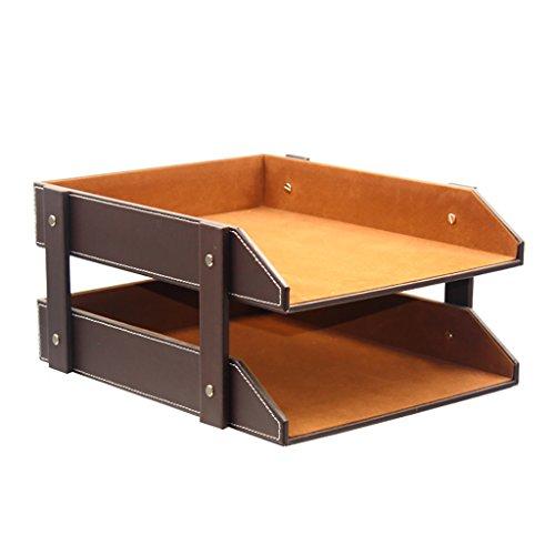 CHAOYANG Neuer Stil Multifunktions-Leder-Magazin-Halter-Datei-Rack, Bücherregal, Office Storage Desktop-Regal-Datei Teiler Kabinett Document Tray Organizer Box. (Farbe : Brown) (Brown-leder-bücherregal)