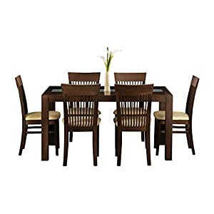 Manhattan Dining Room Table - 6 Matching Dining Chairs - Clear Frosted glass Centre - Solid Wood Table Finish