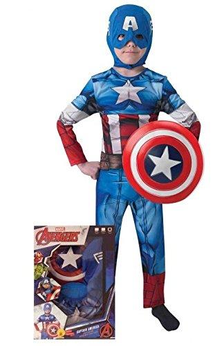 Rubie's Avengers Assemble Costume Capitan America con Scudo per Bambini, M, IT620551-M
