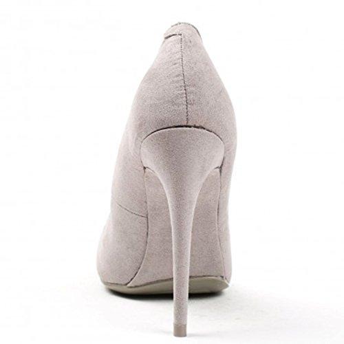 Klassische Damen Stilettos Pumps High Heels Plateau Schuhe Spitz 60 Grau 26