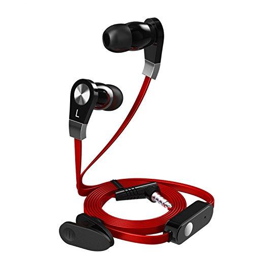 zanasta Kopfhörer JM02 In-Ear Stereo Headset Premium Ohrhörer mit Mikrofon   3,5mm Klinkenstecker und Flachkabel (Flat) (Klinke) Rot-Schwarz