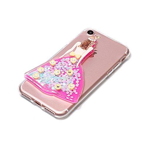 Coque iPhone 7 , Glitter Liquide TPU Etui Coque pour iPhone 7 ,CaseLover Bleu Hibou Motif Mode Etui Coque Dynamic Etoiles Paillettes Sable TPU Slim pour iPhone 7 (4.7 pouces) Mode Flexible Souple Soft Bleu Fee