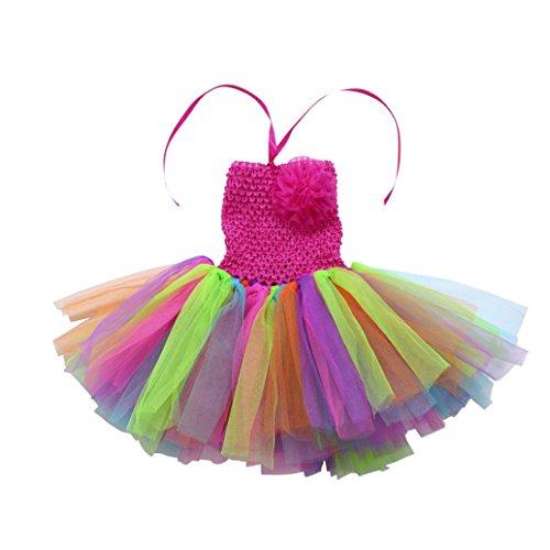 Mitlfuny Komplettes Kostüm für Kinder Mädchen Kleid Ballettkleid mit Blumen Stirnband Karneval Faschingskostüme Neugeborene Floral Tutu (2-5Jahre, A)