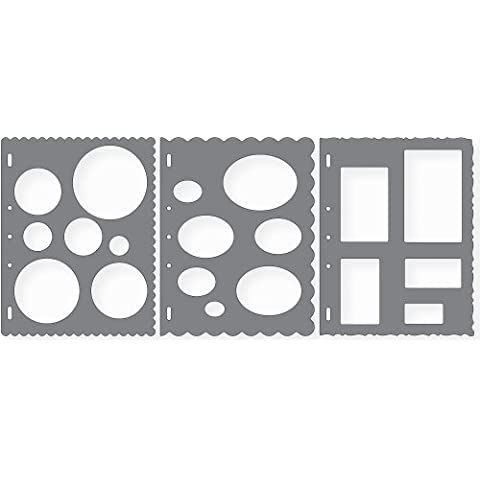 Shape Template Set 8.5x11 3/Pkg-Circles, Ovals & Rectangles by Fiskars