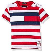 Tommy Hilfiger Boy's Cut & Sew Stripe Short Sleeve T-Shirt, Red, 7 Years