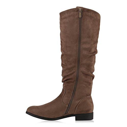 Stiefelparadies Damen Reiterstiefel Cowboystiefel Leder-Optik Gefütterte Stiefel Metallic Blockabsatz Schuhe Schnallen Lack Boots Fransen Flandell Khaki