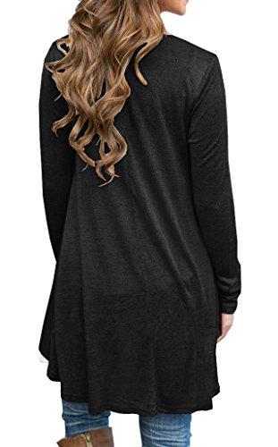 VIISHOW Frauen Langarm A-Linie Spitze Stitching Trim lässige Kleidung Schwarz