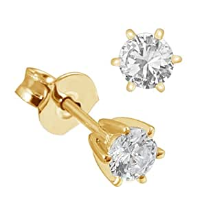 Goldmaid Damen-Ohrstecker Solitär 6er-Stotzen 585 Gelbgold 2 Diamanten 0,25 ct. Ohrringe Brillanten Schmuck